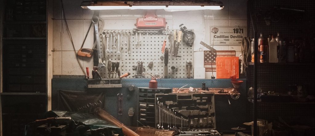 A workbench with tools